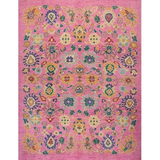 "Traditional Handwoven Turkish Oushak Rug - 8'2""x10'7"" For Sale"