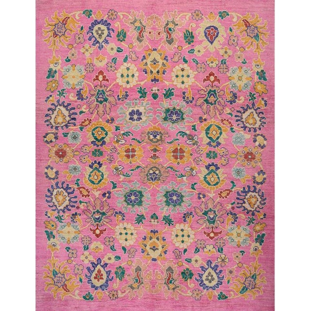 """Traditional Handwoven Turkish Oushak Rug - 8'2""""x10'7"""" For Sale"""
