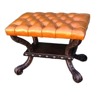 Carved Italian Walnut & Tufted Leather Bench Footstool Ottoman For Sale