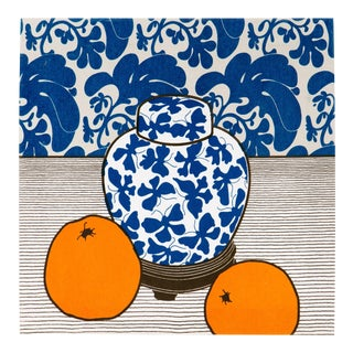 Ginger Jar Silkscreen by Sota on Frame, 1978 For Sale