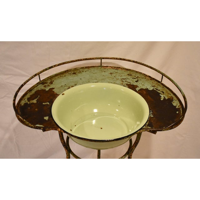 Late 19th Century Wrought Iron Washstand With Enameled Copper Bowl For Sale - Image 5 of 11