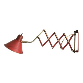 1950s Vintage Red Scissor Lamp For Sale