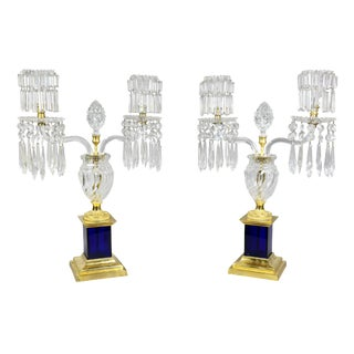 Pair of Regency Cut-Glass & Gilt Bronze Candelabra, Attributed to Parker & Perry For Sale