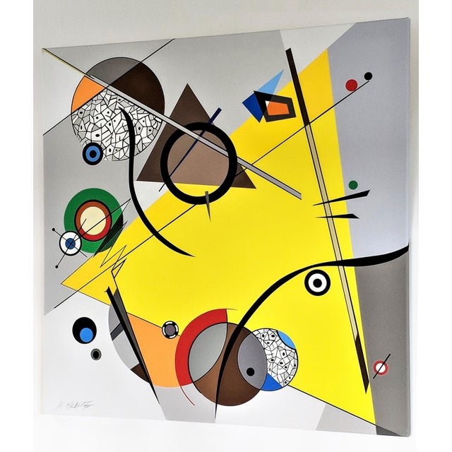 "Abstract Atsuko Okamoto Abstract Serigraph on Canvas ""Movement Yellow"" A. P. Signed For Sale - Image 3 of 6"