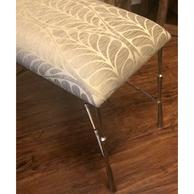 Contemporary Nickel Bamboo Stool With Custom Upholstery For Sale - Image 3 of 6
