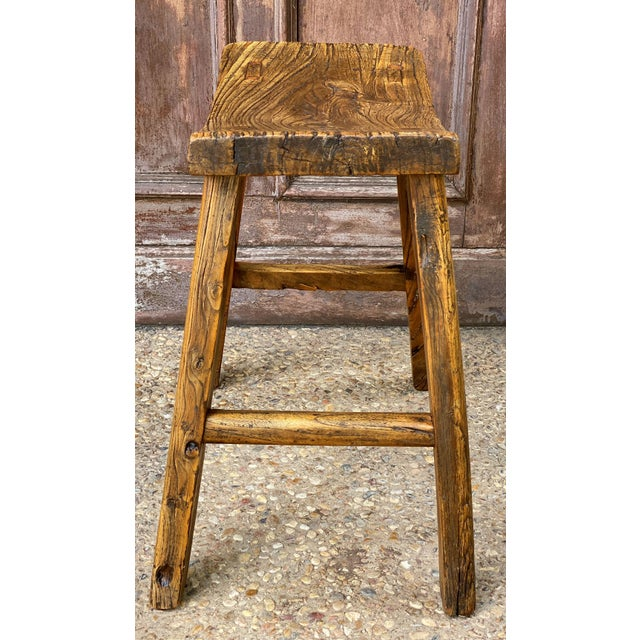 English Saddle Seat or Farm Stool of Elm For Sale In Austin - Image 6 of 13
