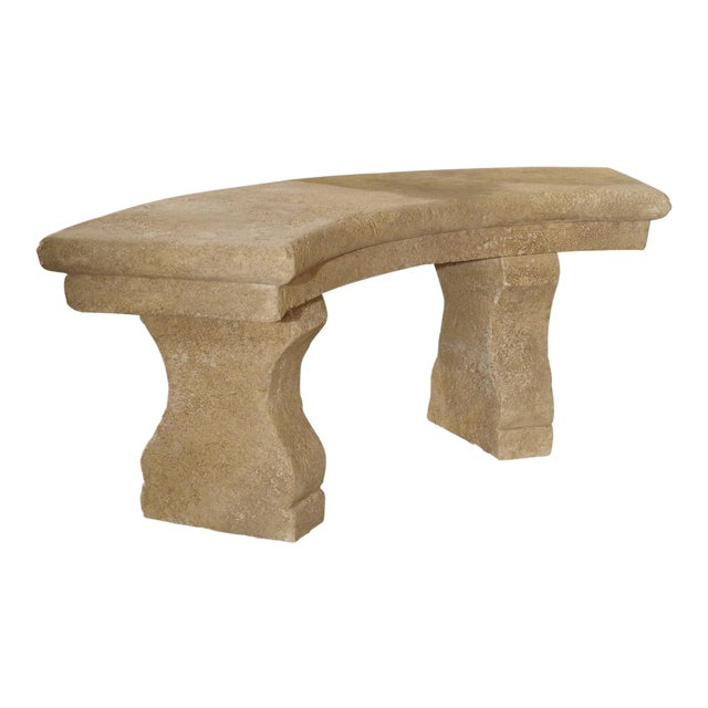 Small Carved Limestone Garden Bench from Provence, France For Sale
