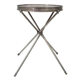 Silver Plated Campaign Style Tray on Stand Side Table