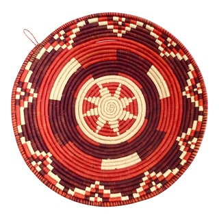 Vintage Red Pattern African Coiled Basket