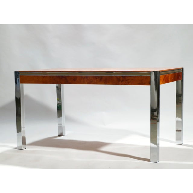 Brown Willy Rizzo Burl Chrome Brass Dining Table, 1970s For Sale - Image 8 of 11