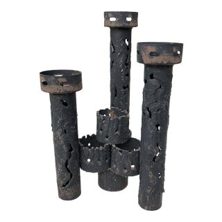 Brutalist Mid Century Torch Welded Sculptural Candle Holder For Sale