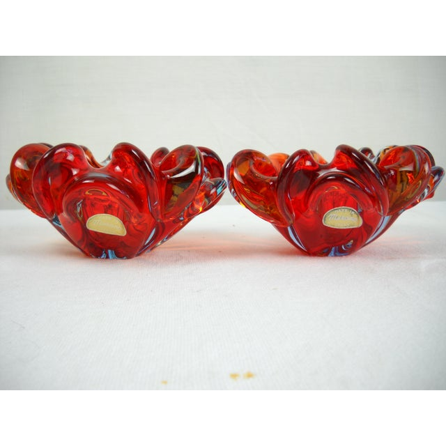 Red Folded-Edge Murano Bowls - A Pair For Sale - Image 9 of 9