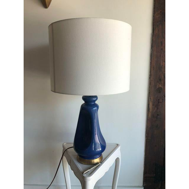 Visual Comfort Aerin Lauder Kapila Blue Table Lamp With Keyless Dimmer For Sale - Image 4 of 9