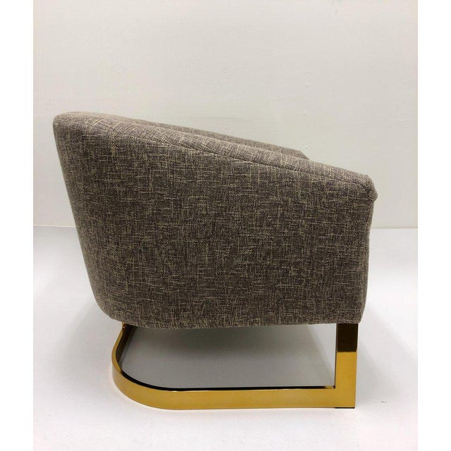 Milo Baughman Milo Baughman Brass and Fabric Lounge Chairs - a Pair For Sale - Image 4 of 9