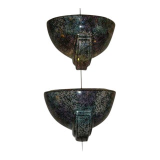 Early 20th Century Antique Harris Potteries Half Moon Wall Sconces - A Pair For Sale