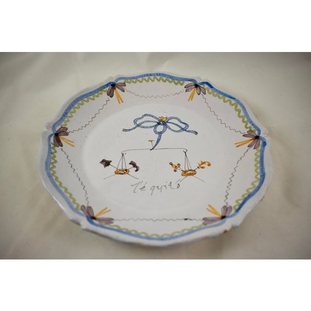 French 18th C. Nevers French Revolution Tin-Glazed Dish, L'équité For Sale - Image 3 of 8