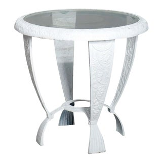 Vintage Grape and Leaf Cast Iron Glass Top Patio Side Table For Sale