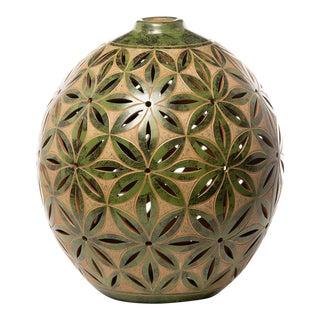 Jade Green Nicaraguan Lattice Pottery Luminary For Sale