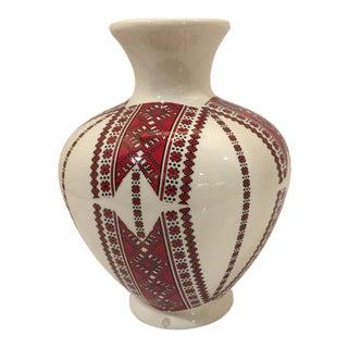 Vintage Ukrainian Traditional Needlework Pattern Ceramic Vase For Sale