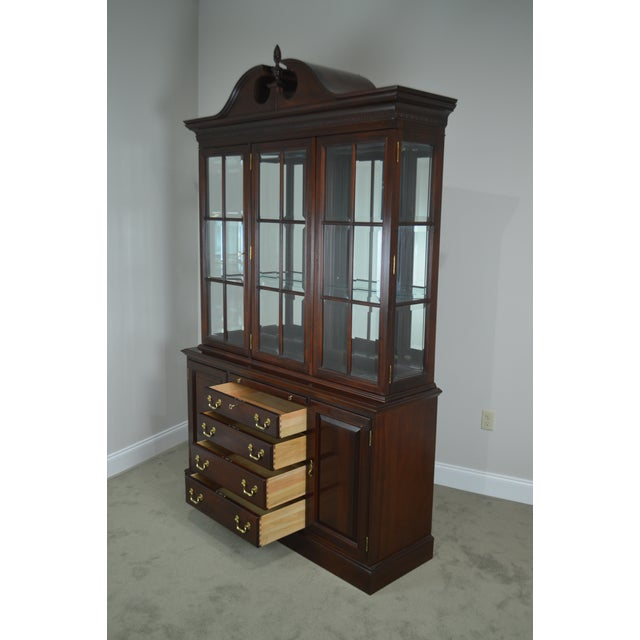 Lexington Furniture Lexington Chippendale Style Heirloom Solid Mahogany China Cabinet Top Buffet For Sale - Image 4 of 13