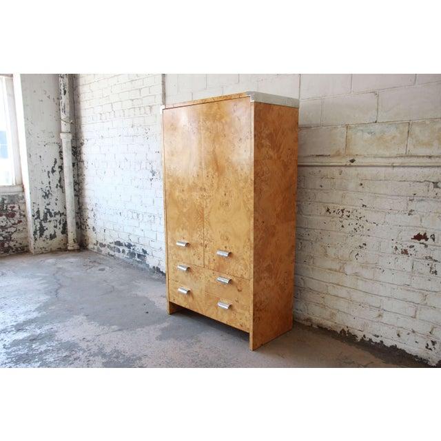 Leon Rosen for Pace Burled Olive Wood and Chrome Wardrobe Dresser - Image 3 of 13
