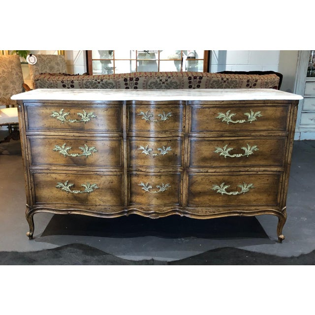 1960s French Provincial 9-Drawer Marble Top Dresser For Sale - Image 13 of 13