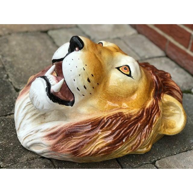 Boho Chic Italian Mid-Century Ceramic Lion Head Wall Sculpture For Sale - Image 3 of 11