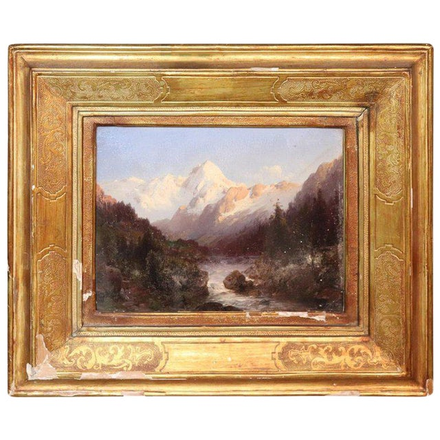 Italian Oil Painting Mountain Landscape With Golden Frame For Sale