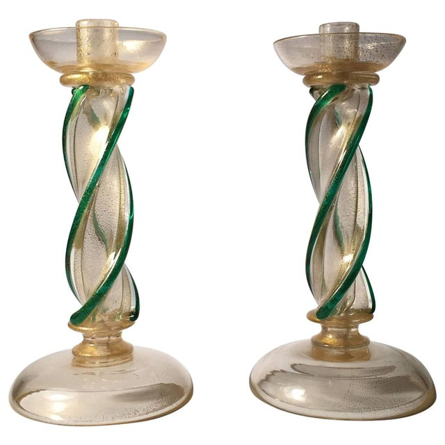 Mid 20th Century Pair of Seguso Murano Glass Candlestick Wireable Boudoir Lamps For Sale - Image 5 of 5