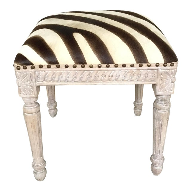 French Style Zebra Hair on Hide Wood Bench For Sale