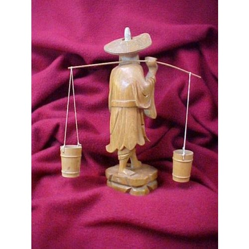 Hand Carved Asian Water Bearer For Sale - Image 6 of 8