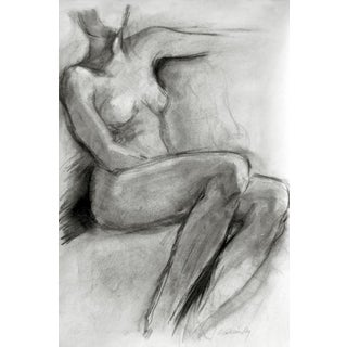Seated Female Figure XIII Charcoal Drawing For Sale