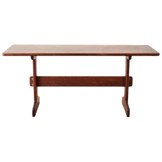 Midcentury Gerald McCabe African Shedua Trestle Table For Sale