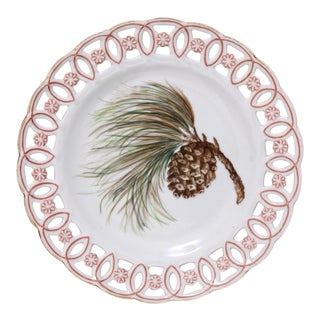 Circa 1880s Handpainted Pine Cone Plate For Sale