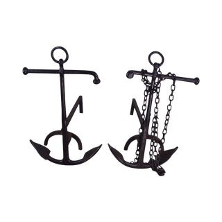 Vintage Pair of Nautical Anchor Andirons For Sale