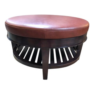 Eric Bors for Holly Hunt Custom Leather Ottoman For Sale