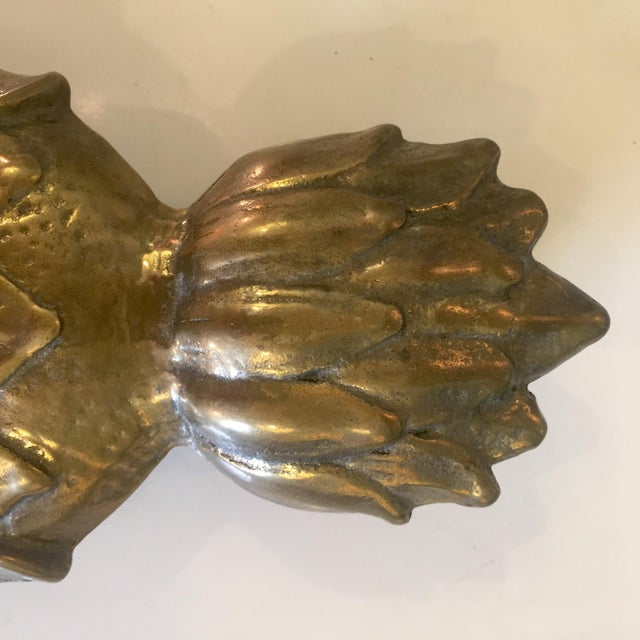 Mid-Century Modern Brass Pineapple Door Knocker For Sale - Image 3 of 7