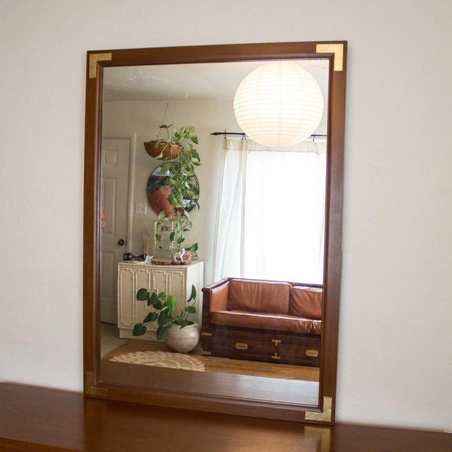 Mid Century Low Boy Campaign Dresser with Detachable Mirror For Sale - Image 5 of 11
