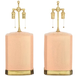 Pink and Brass Crackle Glazed Ceramic Lamps - a Pair For Sale
