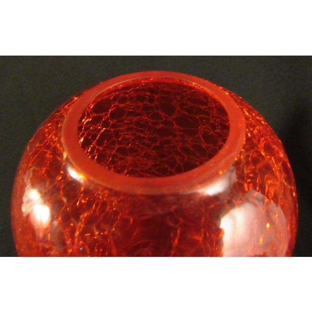 1960s Mid Century Modern Handblown Ruby Red Crackle Glass Vase