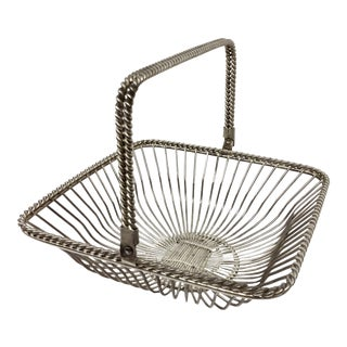 Vintage Square Silver Plate Wire Basket For Sale