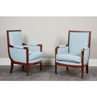 Pair of Empire Mahogany Bergeres Chairs