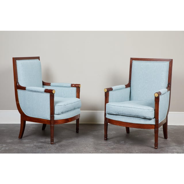 Blue Pair of Empire Mahogany Bergeres Chairs For Sale - Image 8 of 8