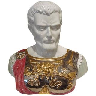 Italian Glazed Ceramic Bust of a Classical Roman