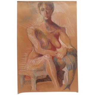 Woman in Gold, Pastel Drawing For Sale