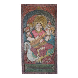 Vintage Saraswati Carvings Barn Door Panel Hindu Goddess of Knowledge For Sale