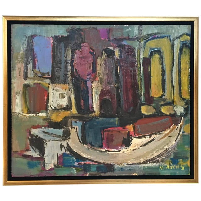 Signed Mid-Century Abstract Oil on Board - Image 1 of 10