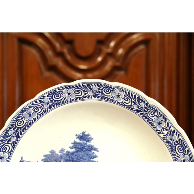 Blue Early 20th Century Dutch Hand-Painted Delft Platter With Pastoral Scene For Sale - Image 8 of 11
