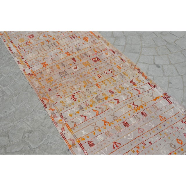 Antique Handmade Kilim Runner Rug Masterwork Cotton Jajim Hallway Decor - 2′9″ × 11′9″ For Sale In Raleigh - Image 6 of 12