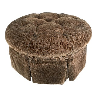 Vintage Tufted Animal Print Round Ottoman